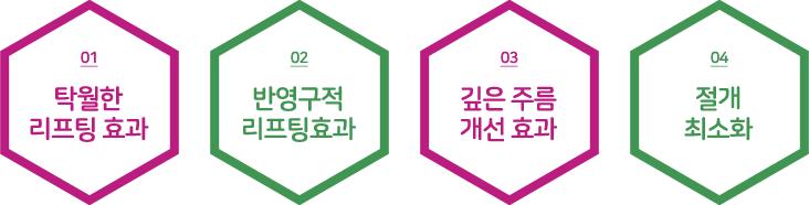 탁월한 리프팅효과 반영구적 리프팅효과 깊은주름 개선 효과 절개 최소화